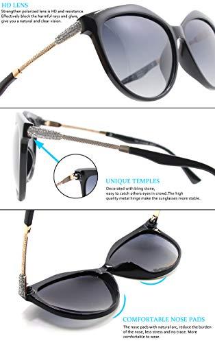Lente Gradiente Gris WHCREAT Estilo Negro Gafas Clásico Lente 01 Sol Lente Para De Protección Cat Polarizadas UV400 Mujer Moda de Eye Marco nqrnSvHZ