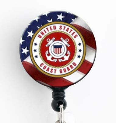 Coast Guard Insignia with American Flag - Retractable Badge Reel with Swivel Clip and Extra-Long 34 inch Cord - Badge Holder/Military/Coastie/Nurse Badge