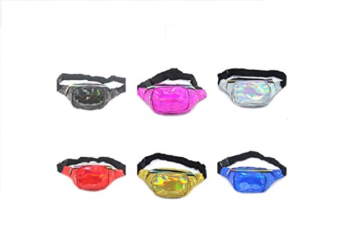 Gogoxm Womens Fanny Pack Waist Bag Water Resistant Chest Bags Holographic Waist Pack Glitter for Running Rave Festival Party Silver by Gogoxm (Image #3)