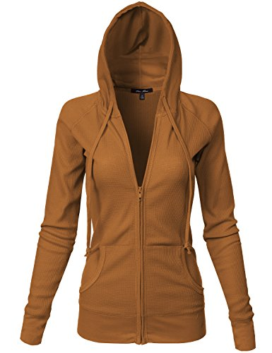 Basic Kangagoo Pocket Thermal Knit Hoodie Jackets, Mustard Large (Terry Embroidered Jacket)