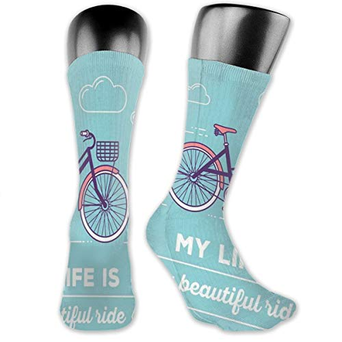 - Compression Medium Calf Socks,Retro Pastel Bike With Basket And Text My Life Is A Beautiful Ride