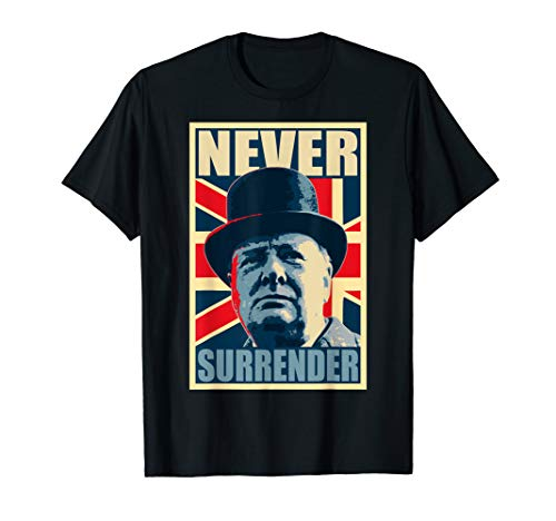 (Winston Churchill Never Surrender Union Jack T-Shirt)