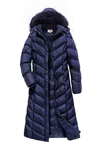 - ELORA Women's Plus-Size Padded Puffer Full Length Coat with Fur Trim Removable Hood, Navy, 3X