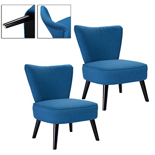 2pcs Blue Accent Dining Chair Armless Modern Living Room Design Comfortable Back (Taupe Leather Match Recliner Loveseat)