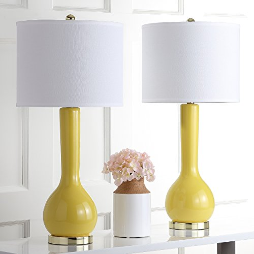 Safavieh Lighting Collection Mae Long Neck Mustard Gold Ceramic 30.5-inch Table Lamp (Set of 2)