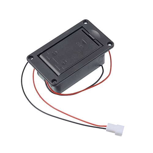 GETMusic Active Bass Guitar Pickup 9V Battery Boxs/Holder/Case/Compartment Cover With Metal Contacts Spring And 2 Pin Plug with Cable (With Spring Contact) ()