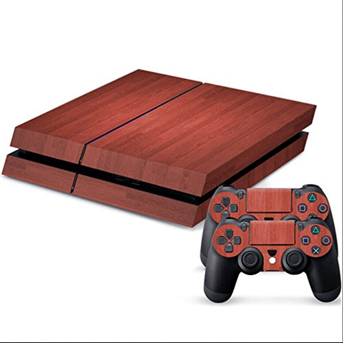 COSMOS Wood Grain Patten Full Body Protective Vinyl Skin Decal for Playstation 4 PS4 Console & Controllers
