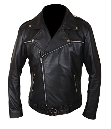 Genuine amp;H Dead Black Negan Walking Leather Jacket Men's The F Hx4qYPP