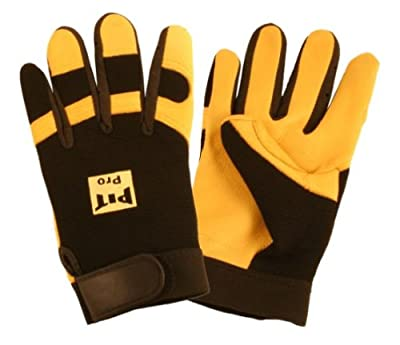 Cordova 77271 Pit Pro Deerskin Palm Activity Glove for Fingertips and Knuckles, Black, Large