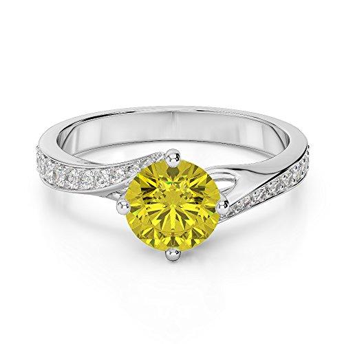Or blanc 18carats 3/2ct G-H/VS sertie de diamants ronds Cut Saphir Jaune et bague de fiançailles Agdr-1207