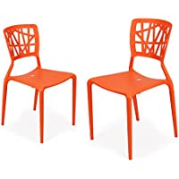 Adeco Polypropylene Hard Plastic Dining Chairs, Fun Living Dining Room Set of 2, Orange