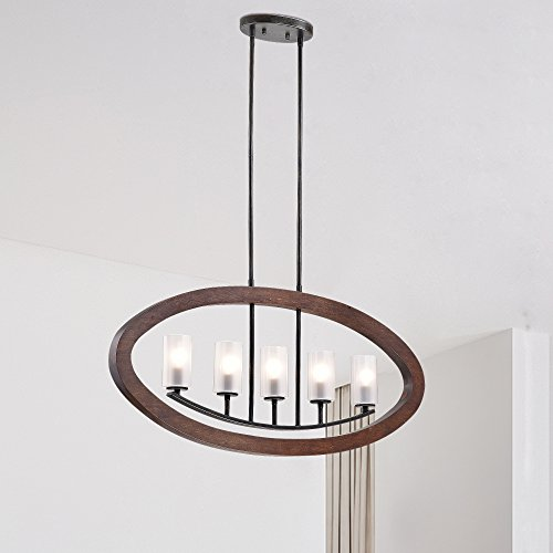 Jojospring Daniela Black/Brown Frosted Glass/Wood/Iron 5-light Chandelier (Brush Light Chandelier)