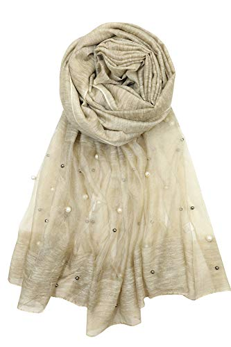 Achillea Women's Elegant Pearl Beaded Embellished Sheer Scarf Shawl Wrap (Khaki) ()