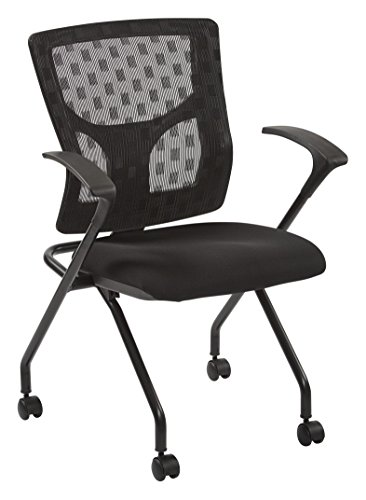 (Office Star ProGrid Checkered Mesh Back and Padded Coal FreeFlex Seat, Fixed Arms, Black Finish Frame Folding Chair, 2-Pack, Black )