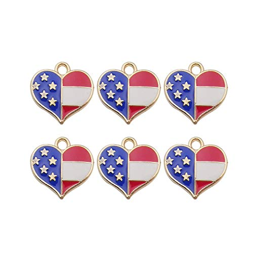 iloveDIYbeads 40pcs Assorted Gold Plated Enamel American Flag Heart Charms Pendant for DIY Jewelry Making Necklace Bracelet Earring DIY Jewelry Accessories Charms (10109) ()
