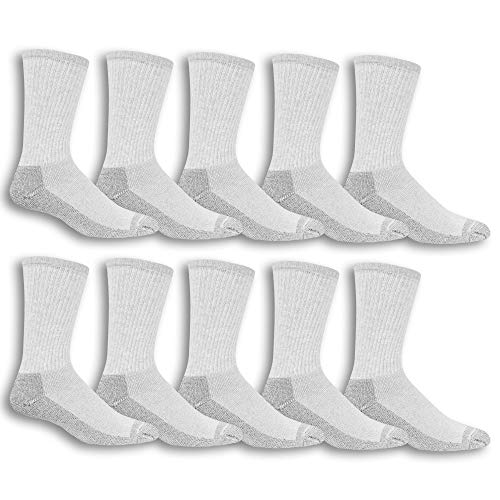 Wicking Cushioned Durable 10 Pack Fruit of the Loom Mens Cotton Work Gear Crew Socks