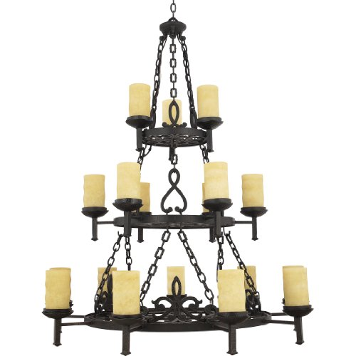 Hand Forged Iron Large Chandelier (Quoizel LP5018IB 18-Light La Parra Foyer Piece in Imperial Bronze)