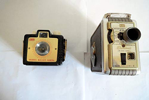 Lot(2) Kodak Collectors Brownie Bullet Camera(1960s) + Brownie Movie Camera(1956), Made in USA