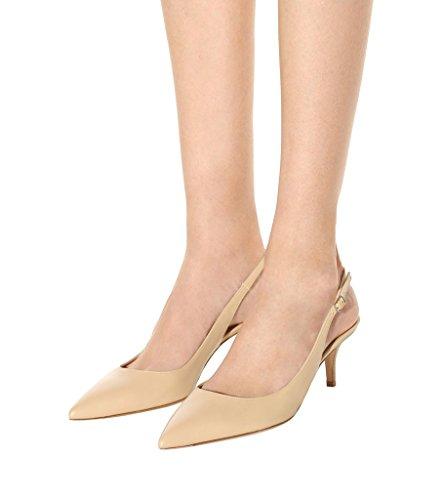 Damen Spitze 5cm Toe Beige Kitten Absatz Heel Pointed EDEFS Pumps Schuhe 6 Slingback Mittlerer ax0daXZ