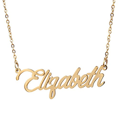 AOLO Gold Plated Name Pendant Necklace Gift, Elizabeth