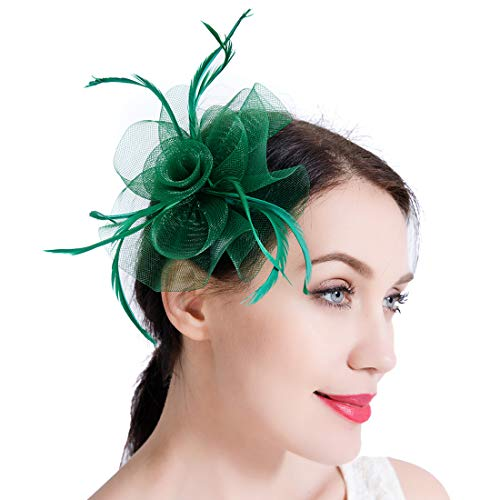 Free Yoka Womens Fascinators Feather Pillbox Hat Cute Beads for Cocktail Kentucky Derby Ball Wedding Church Party (Green)