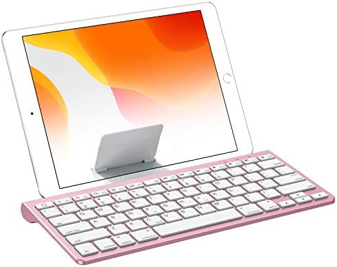 OMOTON iPad 10.2 Keyboard with Sliding Stand, Ultra-Slim Keyboard for iPad 10.2(7th gen)/9.7(6th gen), iPad Air 10.5/9.7, iPad Mini 5/4, and iPhone [Sliding Stand not for iPad Pro 12.9/11], Rose Gold