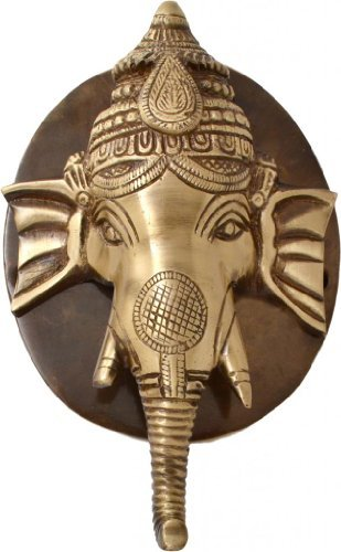 Plate Door Knocker (Two Moustaches Brass Ganesh Face Door Knocker with Plate)