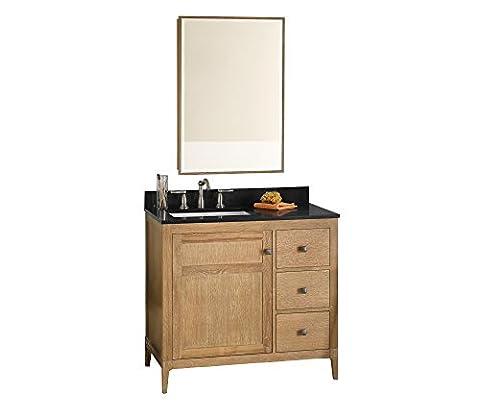 RONBOW Briella 37 inch Bathroom Vanity Set in Vintage Honey, Bathroom Vanity with Top and Backsplash in Black, Vanity Cabinet with Bathroom Mirror, White Ceramic Vessel Sink - Door Recessed Honey Oak Cabinets