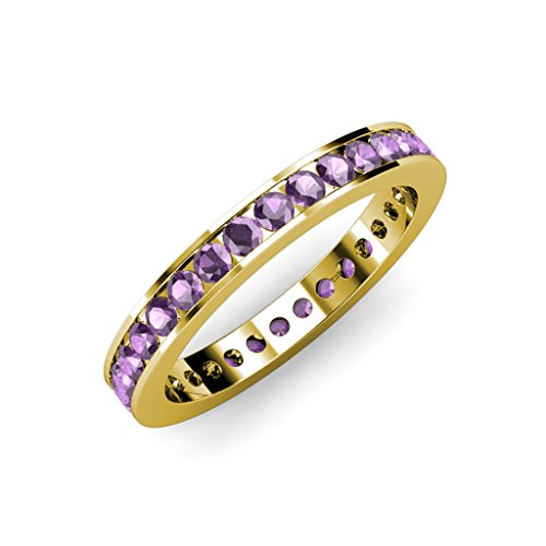 Amethyst Channel Set Eternity Band 1.21 ct tw to 1.42 ct tw in 18K Yellow Gold.size 6.0 Amethyst Channel Set
