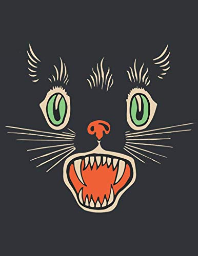 Notebook: Vintage Halloween Scary Black Cat Horror Journal & Doodle Diary; 120 Dot Grid Pages for Writing and Drawing - 8.5x11 in. ()
