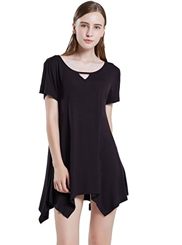 For Black Shirt Tunic Fit T Plus SWISSWELL Women Size Tops Tunic Top Loose Swing OxStUOAq