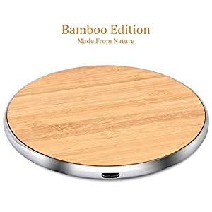 Krobot Wireless Charger Bamboo Qi Charging Pad Ultra Slim & Sleep-Friendly Universal Newest Model for iPhone X iPhone 8 Plus iPhone 8 Samsung Galaxy S8+ S8 S7 S7edge S6 & all Qi enabled device