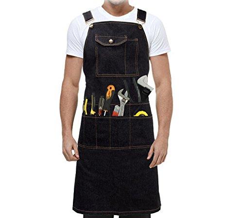 Acediscoball Work Apron Garden Tool Apron Men&Women Denim Cloth Belt Adjustable Utility Apron with Pockets by Acediscoball