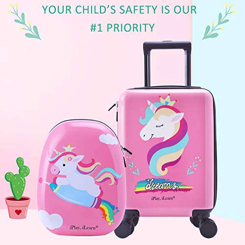Unicorn Kids Carry On Luggage Set with Spinner Wheels, Girls Travel Suitcase
