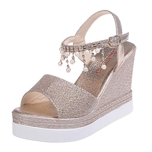 (◕‿◕Water◕‿◕ Women Wedges Sandals,Pearl Rhinestone Bohemia Retro Wedges Open Toe Sandals High Shoes Sandals Glitter Sandals Gold)