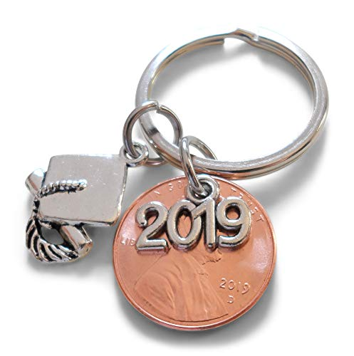 Penny Key - 2019 Charm Layered Over 2019 Penny Keychain, with Cap and Diploma Charm - Good Luck to the New Graduate; Hand Made; Graduation Gift