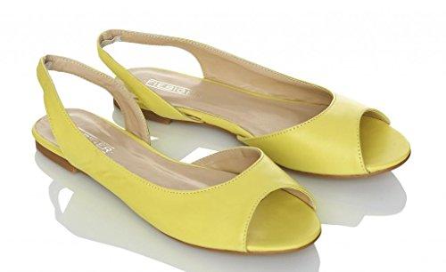 Fiebiger Fresh Peeptoe Sling-back Flats - Yellow - 36