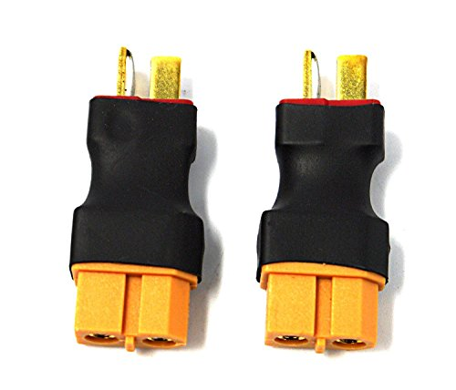 Hobbysky 2pcs Male to XT-60 Female Connector T Plug Battery Adapter for RC Model Lipo Battery