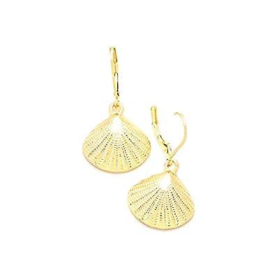 Cheap Golden Textured Half Shell Leverback Drop Earrings
