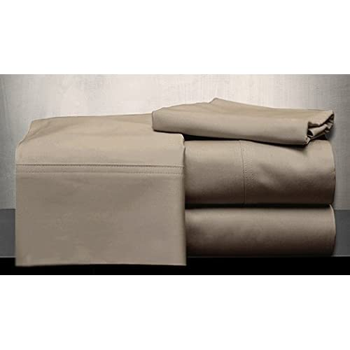 Laxlinen 350 Thread Count 100% Egyptian Cotton Super Quality 1PC Flat Sheet(Top Sheet) Emperor /Wyoming King Size, Taupe Solid free shipping