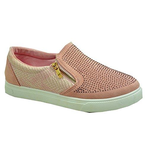 Cucu Fashion New Womens Ladies Studded Flat Trainers Girls Slip On Plimsolls Flat Heels Shoes Size UK 3-8 Pink 2luxKZ