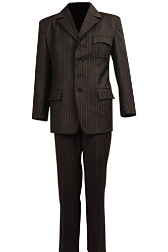 Allten Men's Cosplay Costume Dr Brown Pinstripe Suit Blazer Pants (Brown Pinstripe Pants)