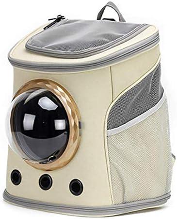 猫と犬の透明スペースペットバックパック+通気性のカバーのための猫袋通気性のポータブルペットキャリアバッグアウトドアトラベルバックパック,ベージュ