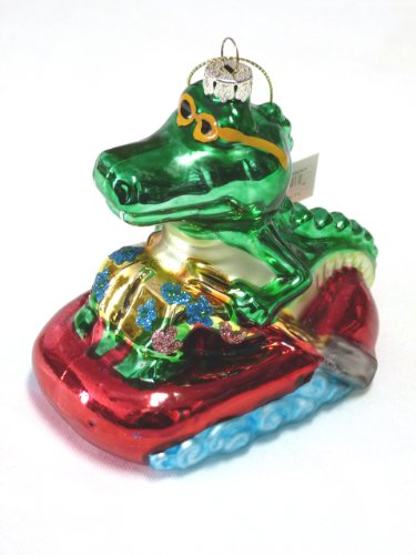 - Beachcombers Cool Alligator in Life Raft Blown Glass Christmas Holiday Ornament