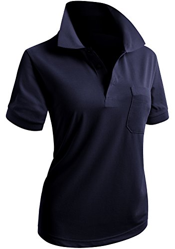 3 Button Casual Shirt - CLOVERY Women's 3-Button Short Sleeve Polo Shirt Navy US S/Tag S