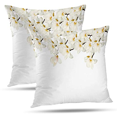 Batmerry Spring Pillows Decorative Throw Pillow Covers 18x18 Inch Set of 2, Beautiful White Magnolia Flower Bouquet White Magnolia White Double Sided Square Pillow Cases Pillowcase Sofa Cushion (Bouquet Spring 2)