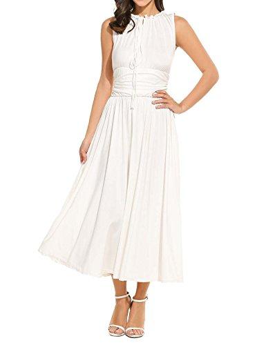 Meaneor Women's Empire Waist Maxi Dress Sleeveless Renaissance Party Long Dress White XXL
