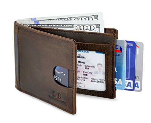 locking Bifold Slim Genuine Leather Thin Minimalist Front Pocket Wallet men Thin Billfold Slim wallets for men - Made From Full Grain Leather (Texas Brown 2.0) (Pocket Billfold)