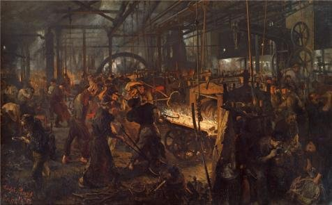 Oil Painting 'Adolph Menzel-The Iron Rolling Mill,1875', 30 x 48 inch / 76 x 123 cm , on High Definition HD canvas prints is for Gifts And Basement, Bed Room And Dining Room Decoration