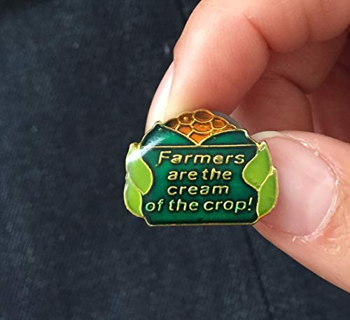 Vintage Enamel Lapel or Hat Pin - Farmers are The Cream of The Crop!